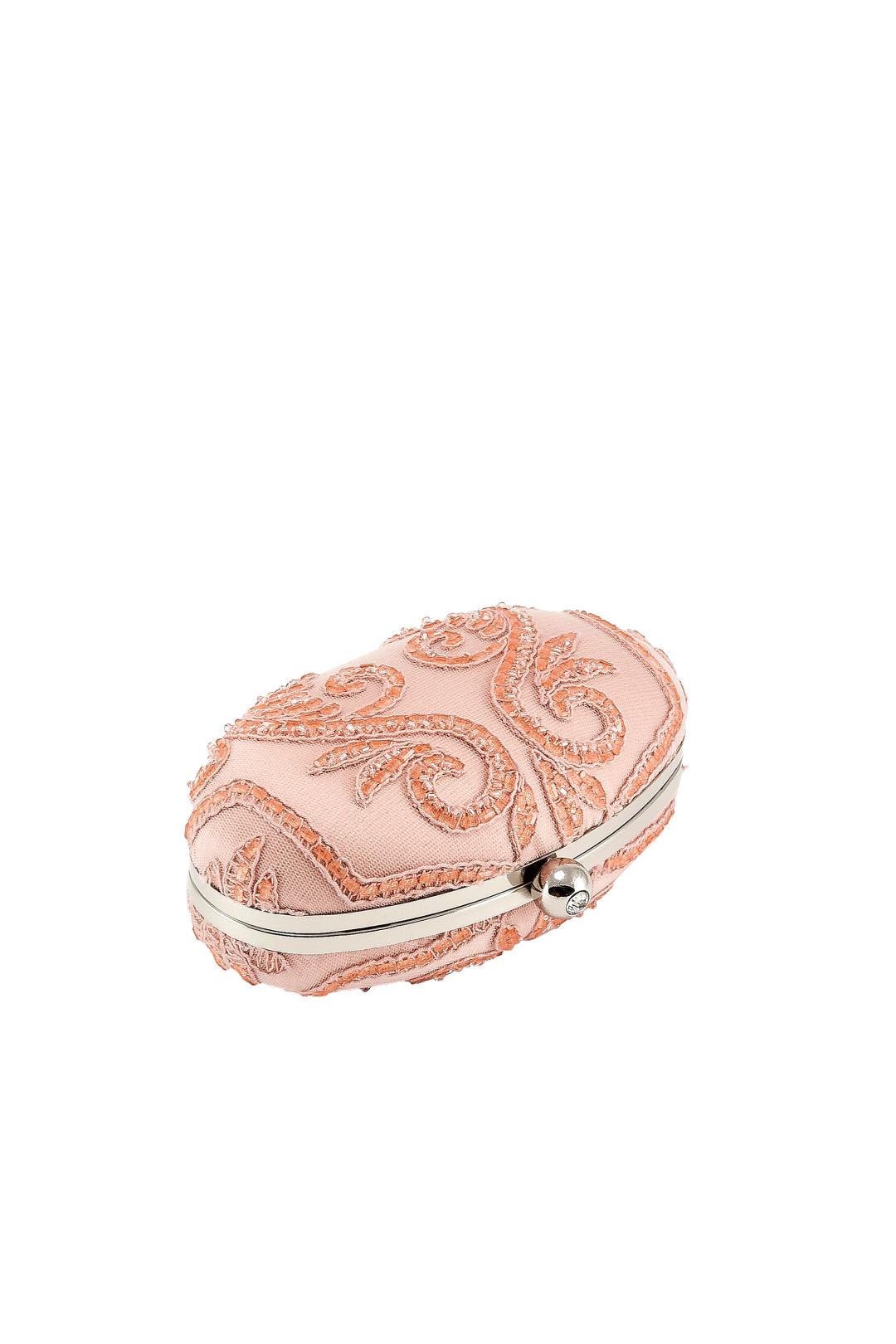Embroidered Tulle Oval Clutch