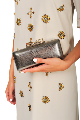 Metallic Stingray Effect Leather Clutch-1