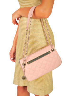 Blush Quilted Leather Bag -1