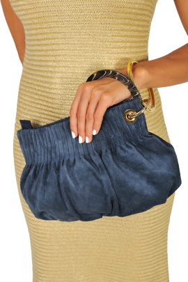 Blue Suede Ring Hand Bag -1