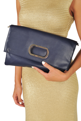 Dark Blue Folded Handbag-1