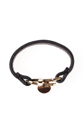 Black Turnlock Leather Bracelet / VILNIUS-2
