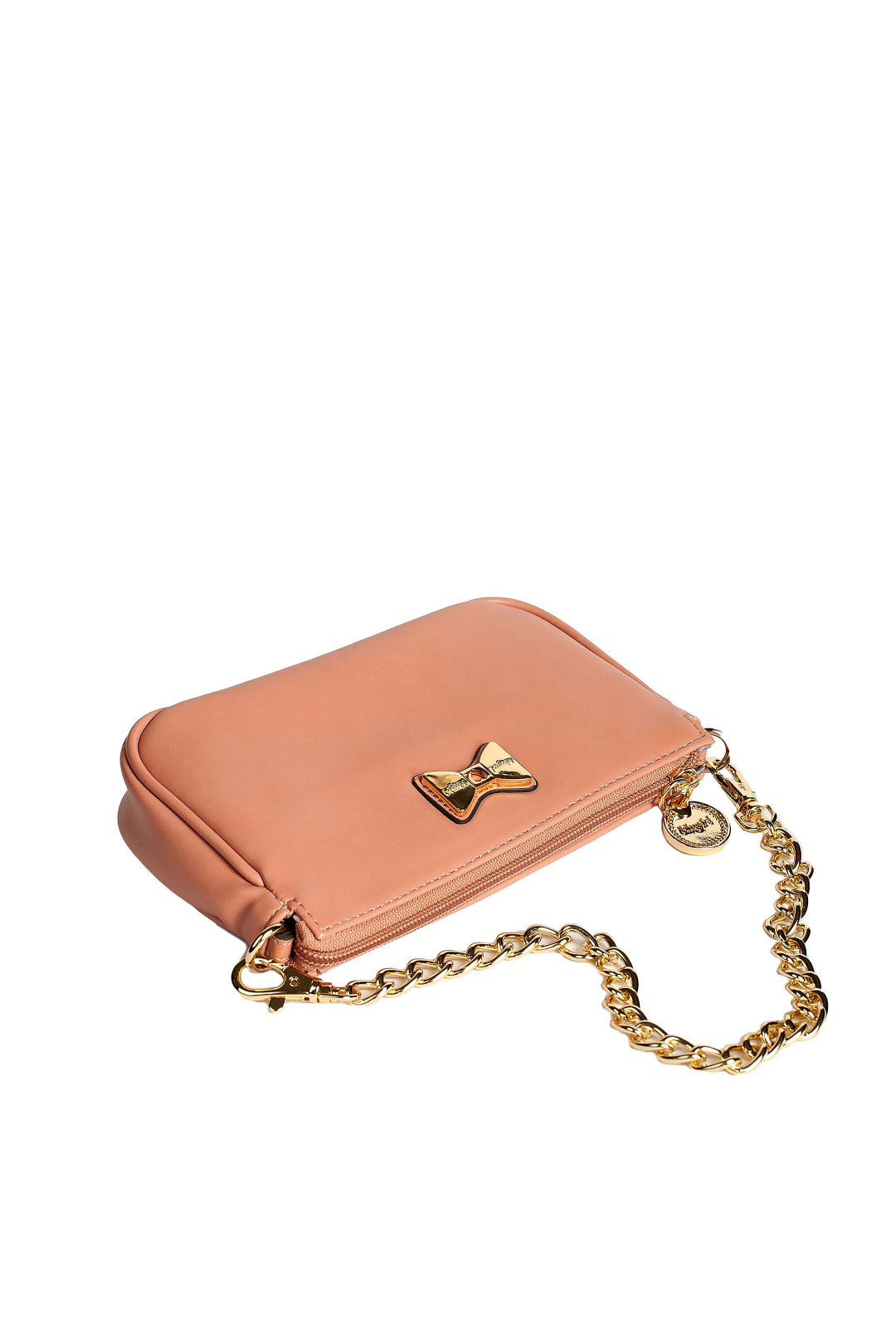 Bow Detailed Nude Leather Purse