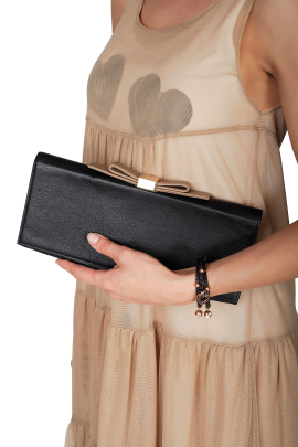 Bow-embellished Leather Clutch-1