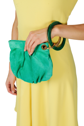 Green Suede Ring Hand Bag-1