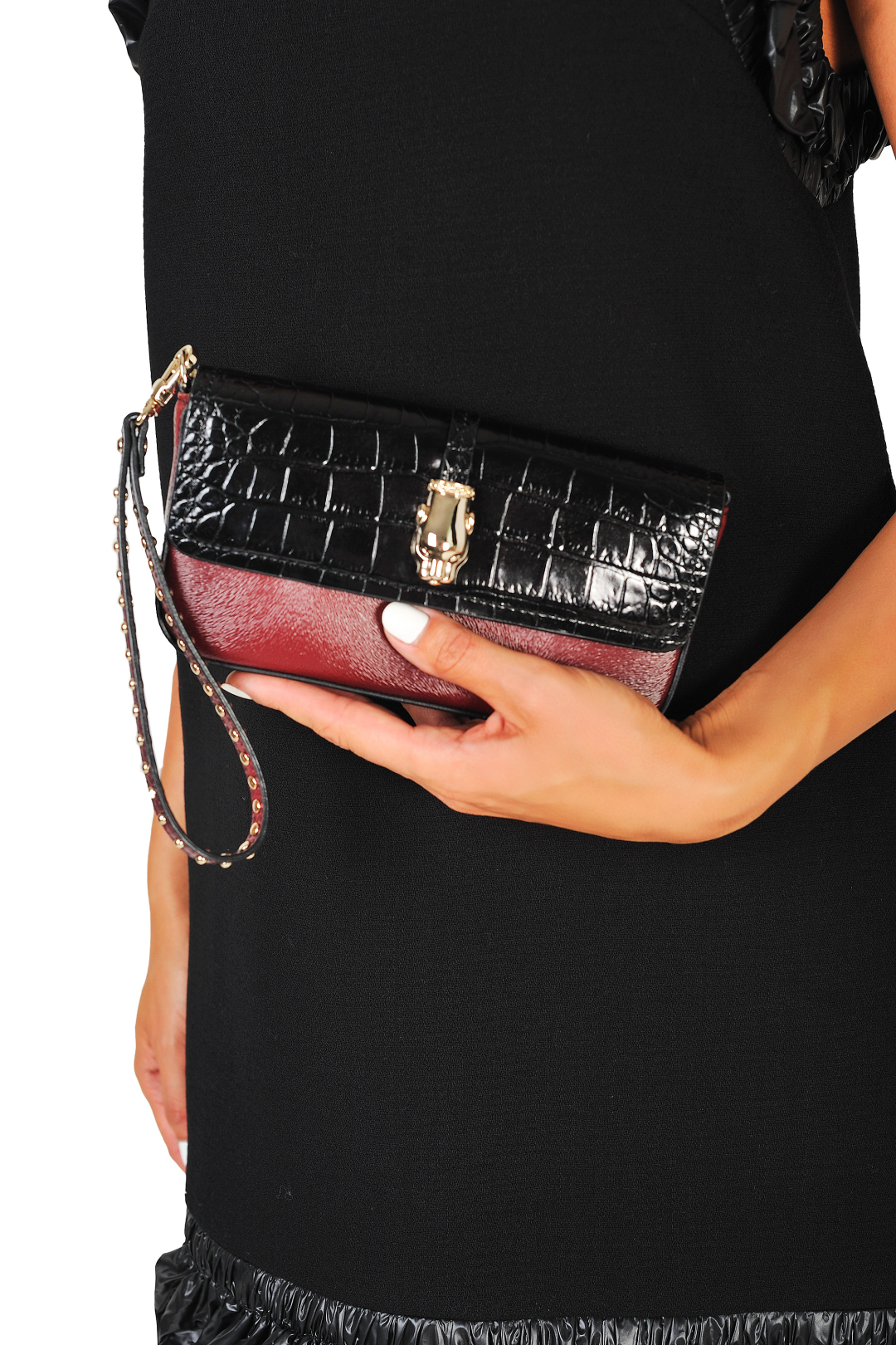 Calfskin Crocodile Print Clutch Bag