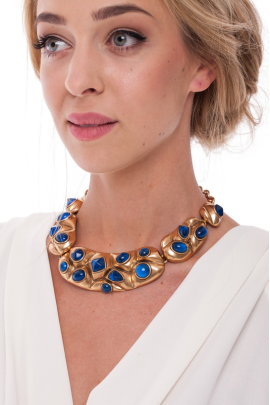Gold Resin Bib Necklace -1
