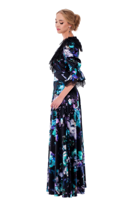 Long Floral Neck Silk Dress-1