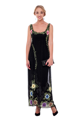 Embroidered Chiffon Maxi Dress-0