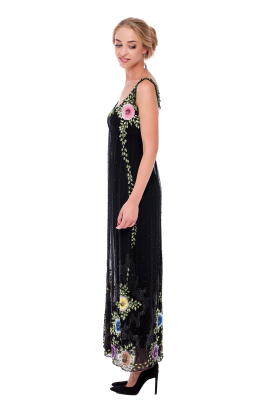 Embroidered Chiffon Maxi Dress-1