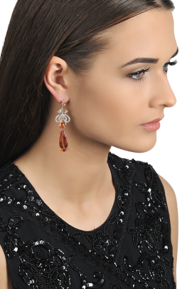 Gold-plated Zirconia Earrings-1