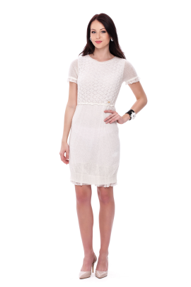 White Knitted Mohair Dress-0