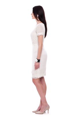 White Knitted Mohair Dress-1