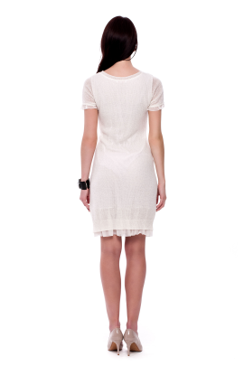 White Knitted Mohair Dress-2