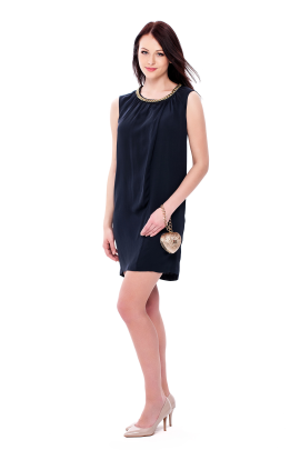 Navy Neck Decorated Dress-0