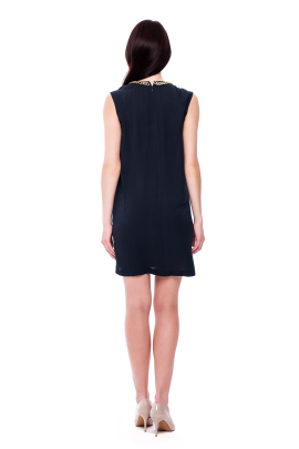 Navy Neck Decorated Dress-2