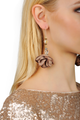Brown Rose Earrings -1