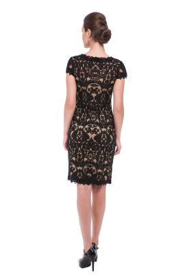 Black Embroidery on Tulle Dress-2