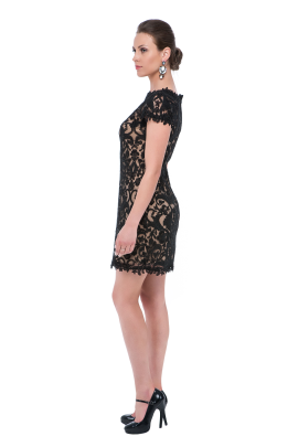Black Mini Embroidery Dress-1