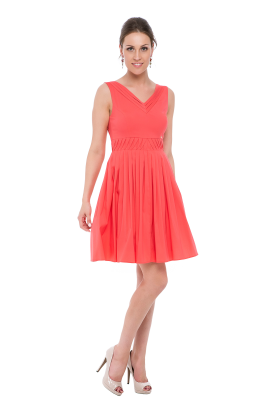 Coral Pink Frilled Dress-0