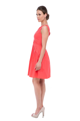 Coral Pink Frilled Dress-1