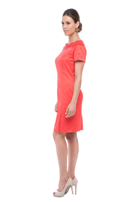 Coral Neck Embroidered Dress -1