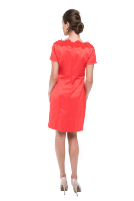 Coral Neck Embroidered Dress -2