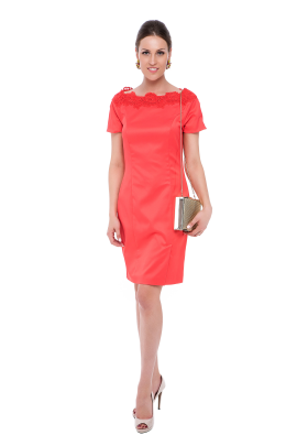 Coral Neck Embroidered Dress -0