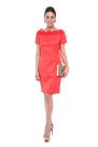Coral Neck Embroidered Dress