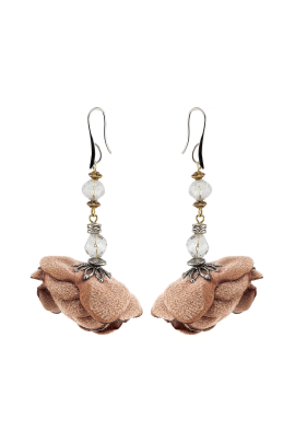 Brown Rose Earrings -0