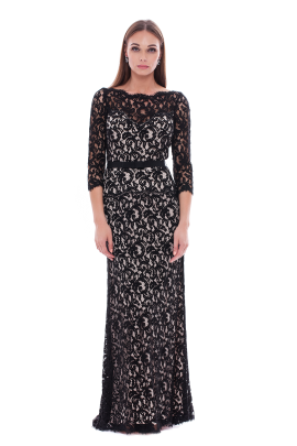 Long Black Embroidered Dress-0
