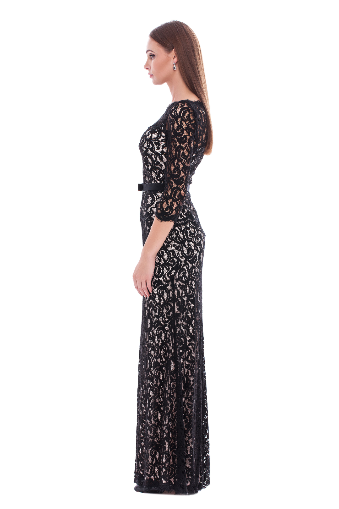 Long Black Embroidered Dress
