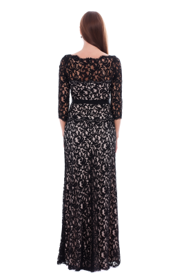 Long Black Embroidered Dress-2
