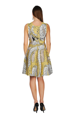 Printed Yellow Jaquard Dress-3