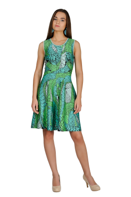 Printed Green Jaquard Dress-1