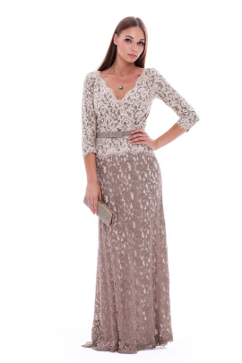 Long Latte Embroidered Dress -0