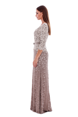 Long Latte Embroidered Dress -1