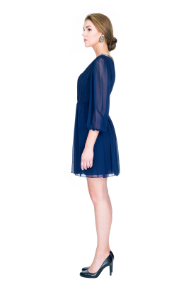 Navy Silk Georgette Dress-2