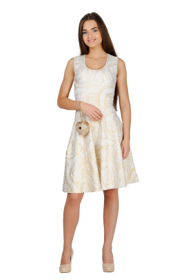 Metallic-Print Jersey Dress-1