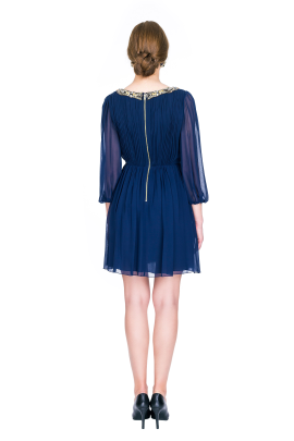 Navy Silk Georgette Dress-3