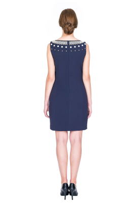 Trapeze Dark Blue Dress-2