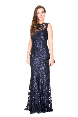 Navy Sequin Gown-0