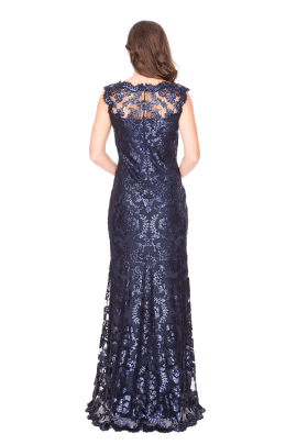 Navy Sequin Gown-2