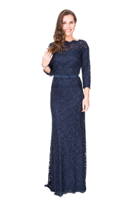 Navy Gown With Ribbon-0
