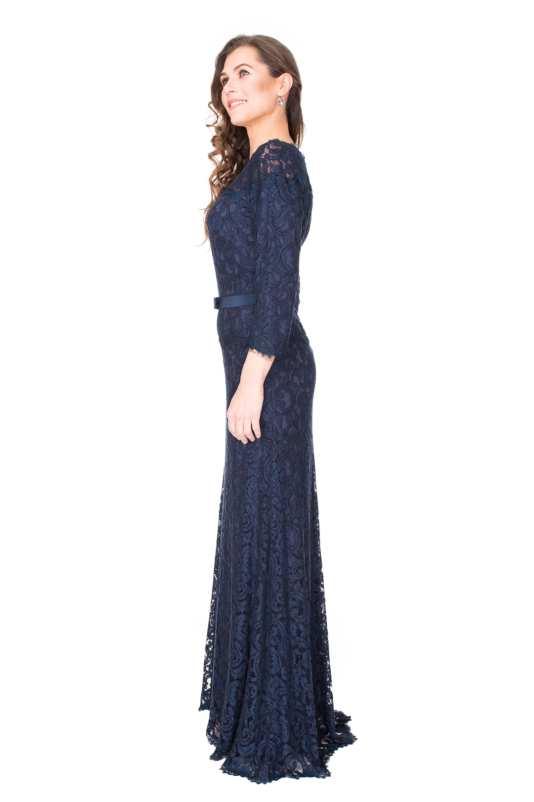 Navy Gown With Ribbon