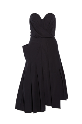 Strapless Poplin Midi Dress-0
