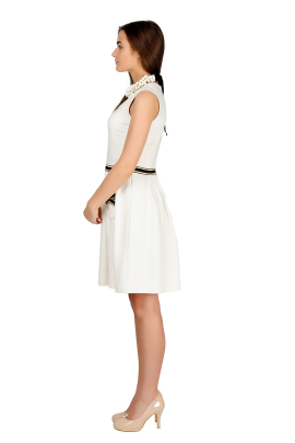 White Bows Detailed Dress-1