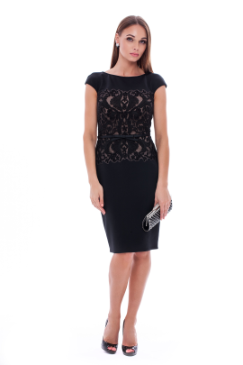 Black Elegant Neoprene Dress -0