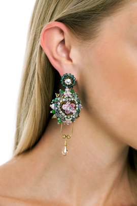 Faberge Pink Flower Earrings -1