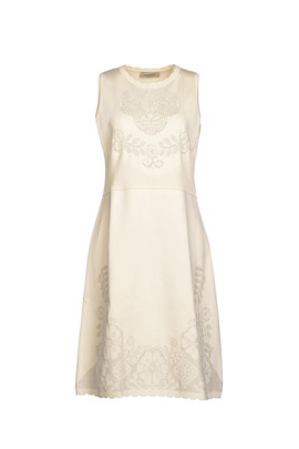 Ivory Jacquard Decorated Dress -0